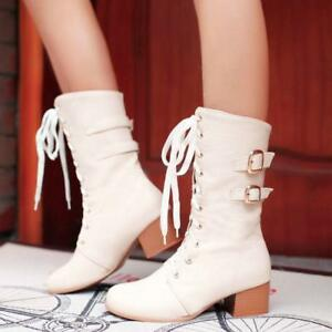 Women-039-s-Leisure-Low-Heel-Mid-Calf-Boots-Lace-Up-Fashion-Casual-Shoes