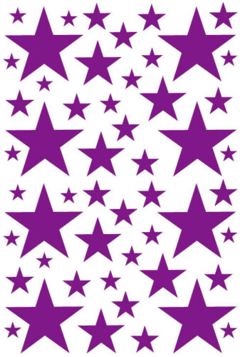 52 DARK PURPLE STARS VINYL BEDROOM WALL DECALS STICKERS Teen Girl Baby Nursery