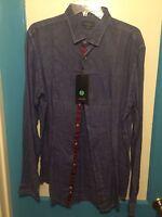 Basic Zara Man 100% Linen Slim Fit Blue Xl Shirt