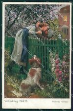 Romantic Couple and Dog Soldier Heimkehr postcard cartolina QT6161
