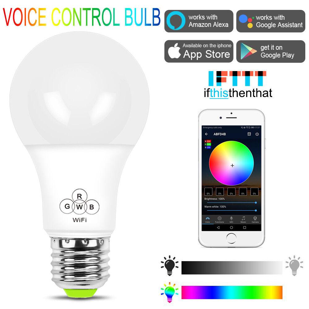 RGBW LED WiFi Smart Lights Bulb Compatible with Alexa Google Home IFTTT E27 E26