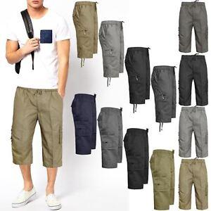 NEW-MENS-ELASTICATED-WAIST-COTTON-CARGO-COMBAT-3-4-LONG-KNEE-LENGTH-SHORTS-PANTS