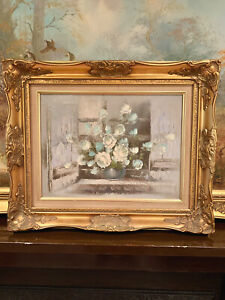 ORIGINAL-OIL-ON-CANVASS-PAINTING-STILL-LIFE-FLOWERS-SIGNED-T-HANSEN-GILT-FRAMED