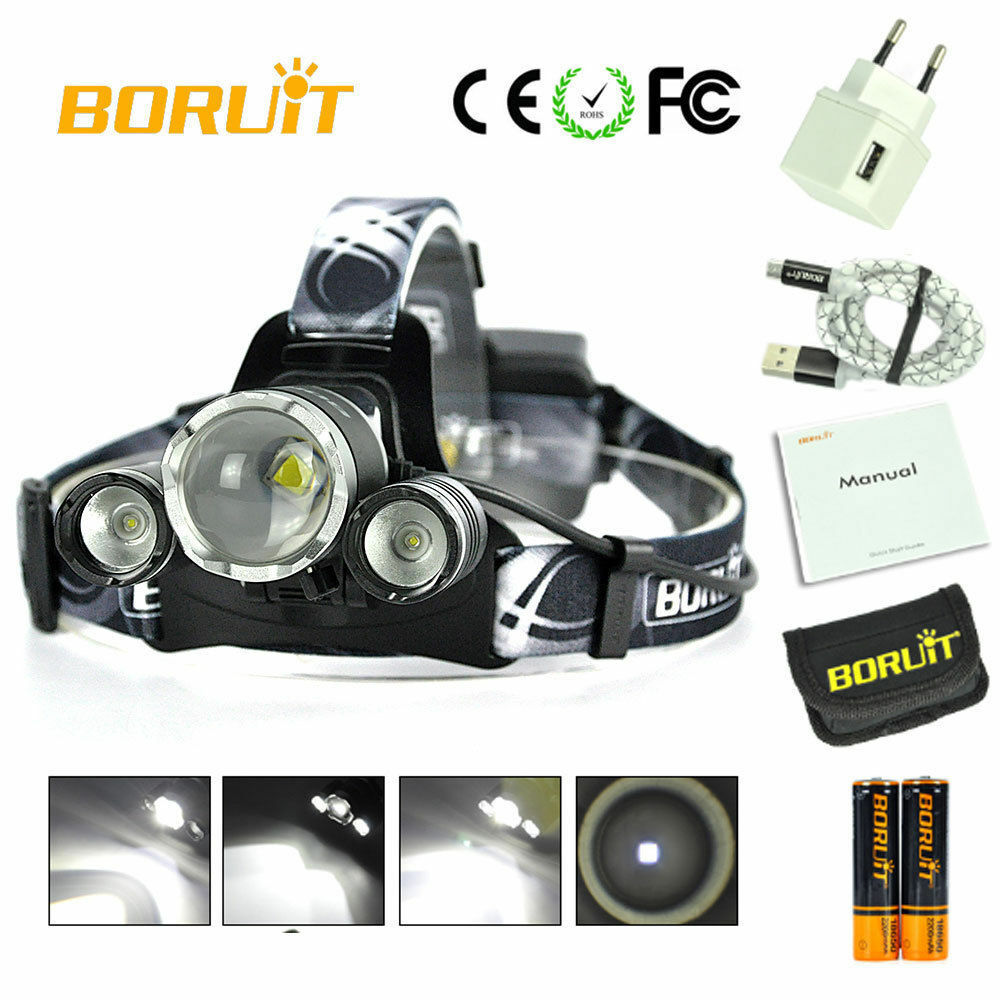 NEW BORUiT Headlamp 26,000 Lumen Lumen Lumen Zoomable CREE 3x L2 LED Headlight 18650 Battery f2e866