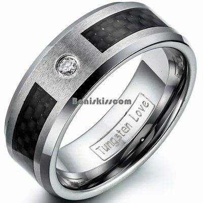 Black Carbon Fiber And One CZ Inlay Tungsten Carbide Ring Men's Wedding Band