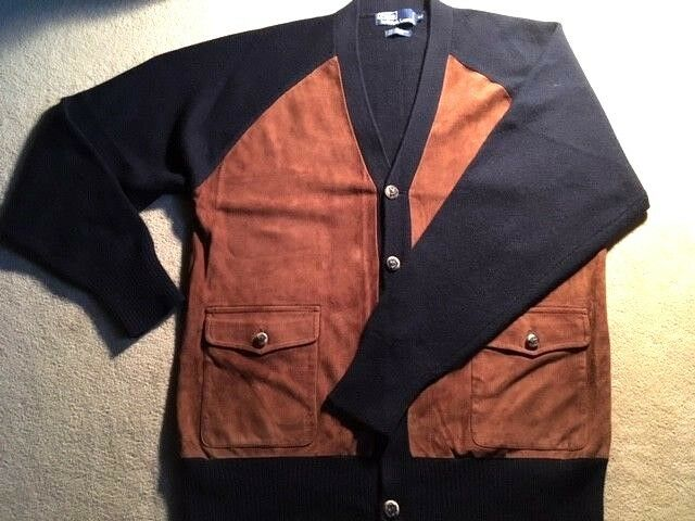 GORGEOUS VINTAGE POLO RALPH LAUREN  Herren CASHMERE AND SUEDE CARDIGAN SWEATER.
