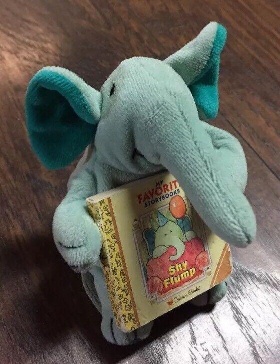 "Rare HTF 1999 Golden Books ""Shy Flump"" w/Collectible 5"" Baby Elephant Beanie"