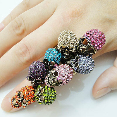 2015 Skull Bones Retro Finger Ring Multi Rhinestone Crystal Stretch Halloween