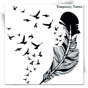 Details Sur Grand Tatouage Temporaire Plume Oiseaux Tattoo Ephemere Noir Autocollant