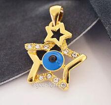 Nazar Auge Strass Stern Ketten Anhänger 18 Karat Gold GP Blick Evil Eye Star NEU