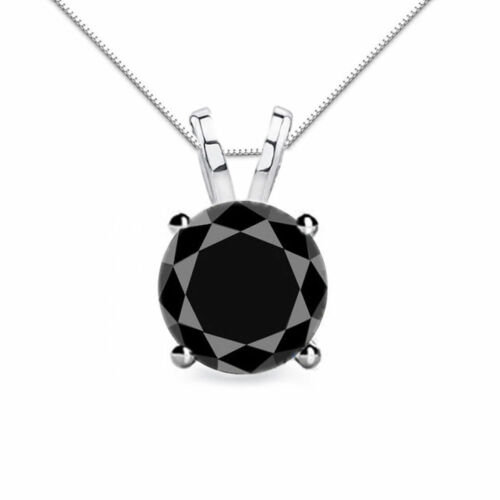 14K Solid or Blanc Rond diamant noir à 4 broches solitaire Box Chain
