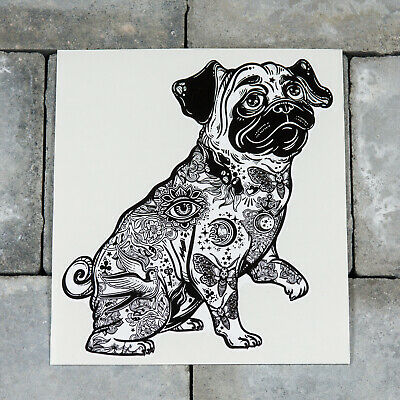 Tattooed Pug Gang Tats Dog Vinyl Sticker 142mm x 159mm