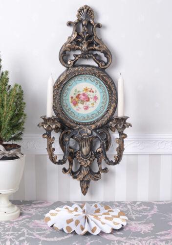 Kandelaber Barock Wandleuchter Porzellan Medaillon Kerzenleuchter Antik Leuchter