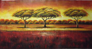 For t paysage arbres long grand huile peinture contemporain art moderne ebay for Peinture moderne