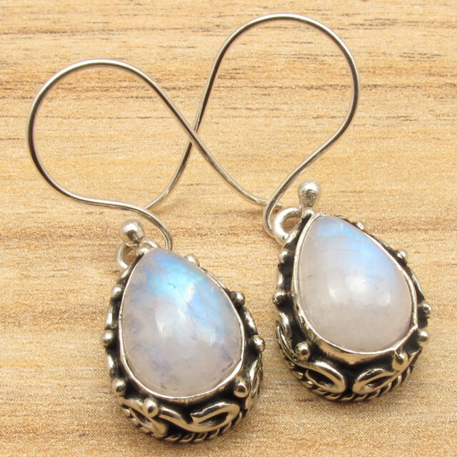 Natural RAINBOW MOONSTONE Drop Gems Antique Jewelry Earrings ! 925 Silver Plated