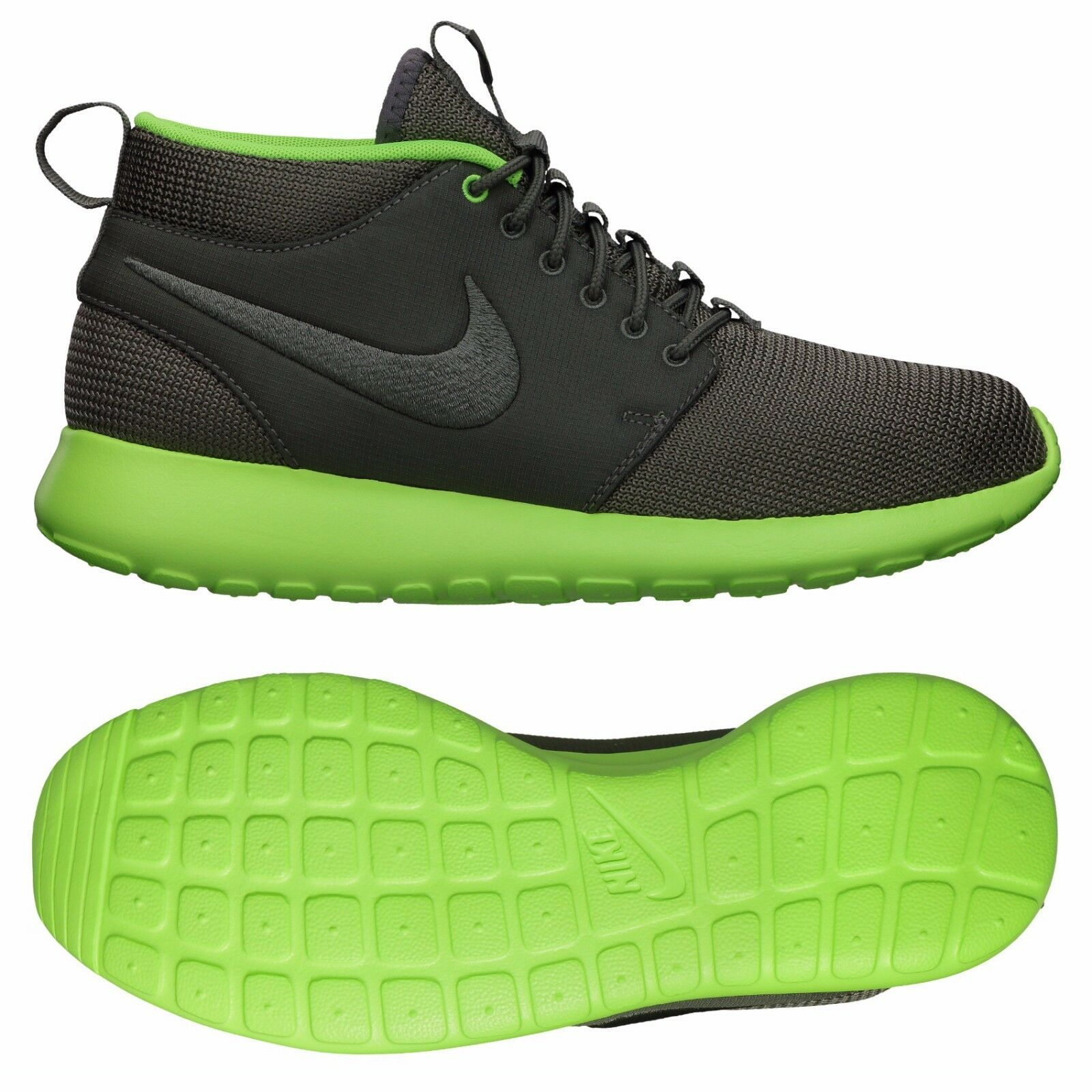Nike Roshe Run Mid 599501-003 Mercury Grey/Flash Lime/Phylon Zen Men's Shoes