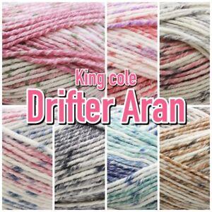 King-Cole-Drifter-Aran-Weight-Pastel-Variegated-Knitting-Wool-Yarn-100g-Ball