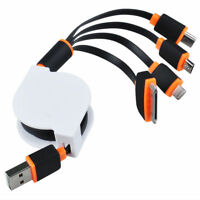 4 In 1 Retractable Usb Charger Cable For Ipod Iphone 4 4s 3g Htc