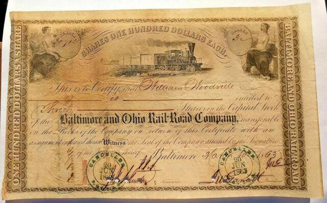 Get One Free! Thomas Swann Rare 1852 Pre Civil War B/&O RR Stock Cert