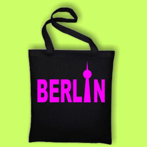 Berlin Fun Baumwolltasche Jutebeutel Tasche Schwarz neonpink 50