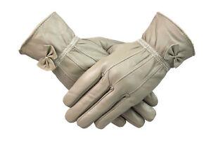 Handschuhe & Fäustlinge Kleidung & Accessoires Süß GehäRtet Damen Damen 100% Leder Handschuhe Mit Schleife Fleecefutter Warm Winter Beige Einen Einzigartigen Nationalen Stil Haben