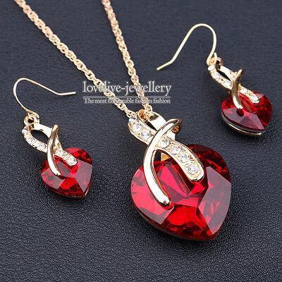 Women Elegant Red Austrian Crystal Heart Necklace Earrings Wedding Jewelry Set