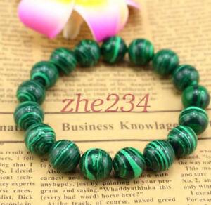 8 Mm Vert Naturel Malachite Bracelet Bangle Perles Rondes Femmes Hommes Bijoux Beauté-afficher Le Titre D'origine