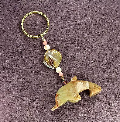 DOLPHIN SOAPSTONE KEY CHAIN Totem Sea Shells Ring Gold Porpoise Ocean Fish