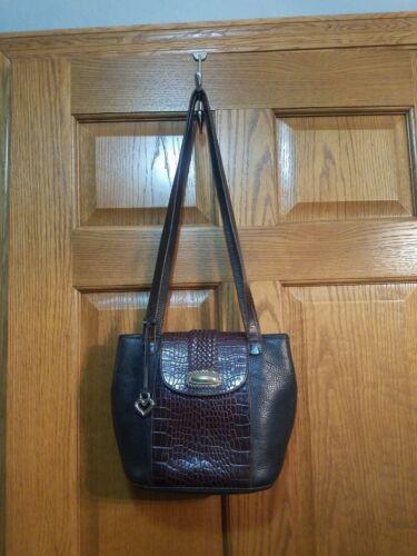 Authentic Brighton Bucket Shoulder Bag, two tone