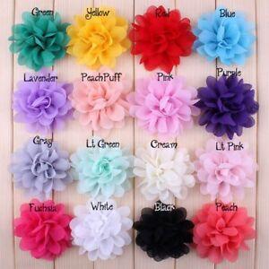 Tulle Lotus Chiffon Fabric Flowers For Baby Hair Accessories Headband DIY 30pcs