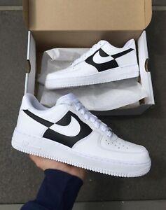 lavabo Comparación Alergia  Marca Nuevo Negro Y Blanco Zapatos Nike Air Force 1 A medida Talla 8  hombres | eBay