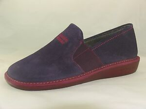 b484fde94bf8 Image is loading Womens-Nordikas-9161-Purple-Suede-Leather-Full-Slippers