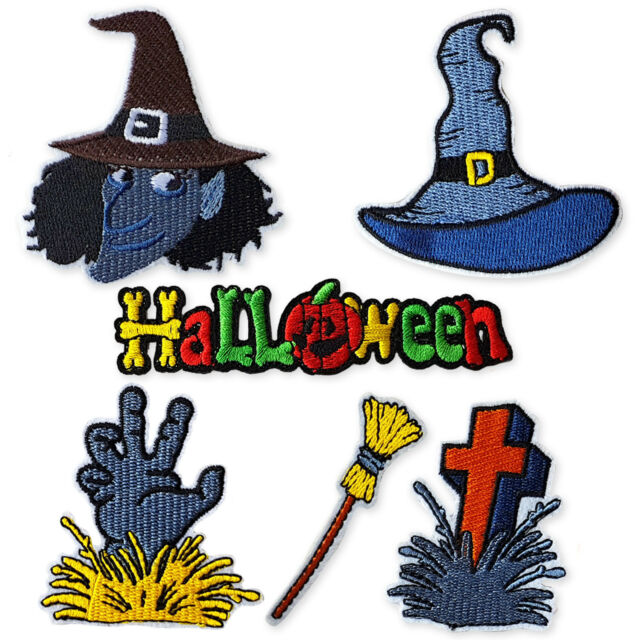 Witch Patch Iron Sew On Embroidered Badge Embroidery Applique Halloween Crafts