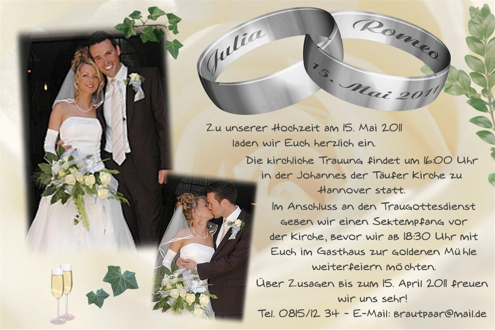 Einladung Danksagung Hochzeit Karte Hochzeitskarten Verlobung individuell hz_05 | Bevorzugtes Material  | Neuankömmling