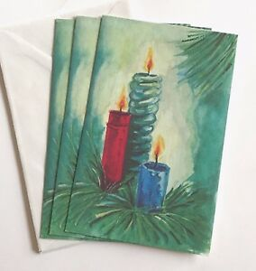 Details about 3 Vintage Christmas Cards UNUSED Blue Candles A Sands Print  Brand USA 1960,70\u0027s