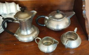 Vintage  Four Piece Craftsman Pewter Sheffield Arts & Crafts Style Tea set