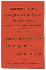 1890s Advertisement Stephen Rossi Italian Printing Office San Francisco CA