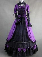Purple Gothic Lolita Victorian Aristocrat Long Dress Royal Gown S M L XXL XS