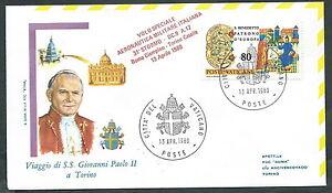 1980 Vaticano Viaggi Del Papa Dispaccio Aereo Torino Timbro Arrivo - Rm1 TrèS Poli