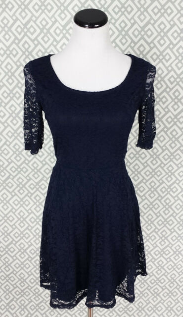 e2b4c5cf6d4 Womens BY Short Sleeve Navy Blue Floral Print Lace Fit Flare Tea Dress Sz  Small