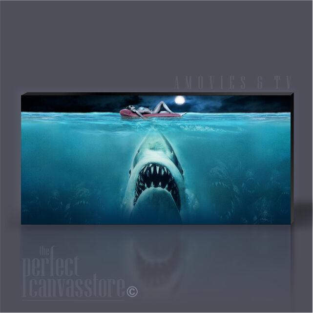 JAWS AWESOME SHARK AT NIGHT ICONIC CANVAS ART PRINT ArtWilliams UPGRADE 120x56cm