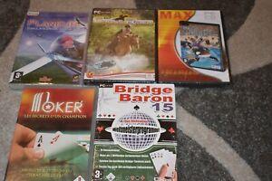 Lot 4 jeux pc  Bridge baron 15 ,Cross rider Sea life park empire ,neuf