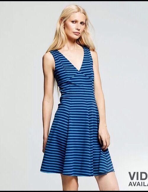 PETER SOM For DesigNation DRESS Größe  2 NEW Blau Striped Empire Waist Fit Flare