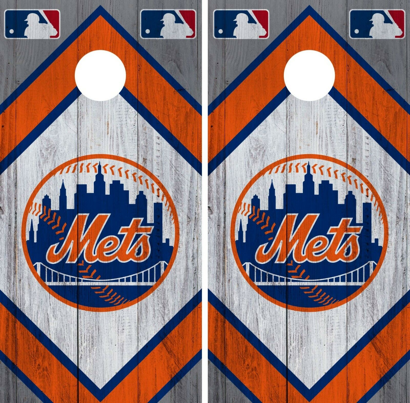 New York Mets Cornhole Wrap MLB Wood Game Board Skin Set Vinyl Decal CO505