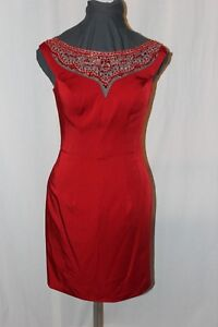 NWT-Size-8-RED-short-formal-with-illusion-beaded-back-Mon-Cheri-MCS21660