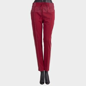 VALENTINO-1300-New-SS18-Maroon-Red-Techno-Jersey-Pants