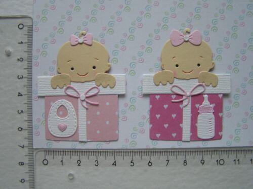 Kartenschmuck Geburt Scrapbooking Stanzteile  b84 2x Baby auf Paket Mädchen