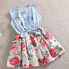 enfants filles jean jupes noeud floral à volants princesse robe soirée de soleil