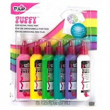 Tulip 20595 Dimensional Puffy Fabric Paint, 6-pack - Pack Multi Set Paints Oz