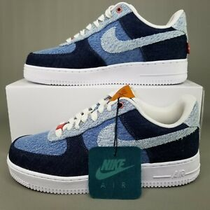 Details about Nike x Levi's Air Force 1 By You Denim Athletic Shoes Mens Size 8.5 Dark Blue